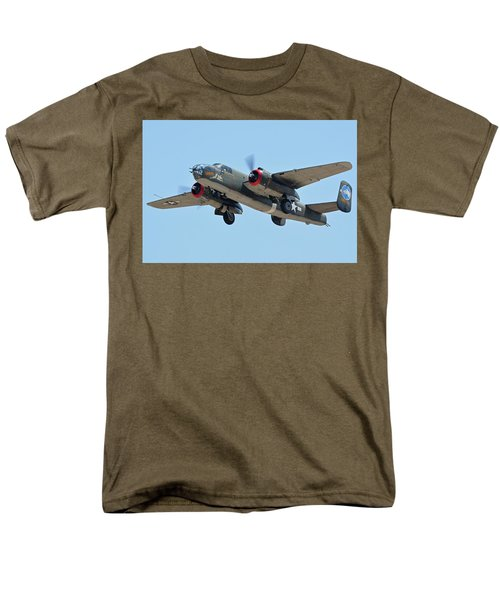 Men's T-Shirt  (Regular Fit) featuring the photograph North American B-25j Mitchell Nl3476g Tondelayo Phoenix-mesa Gateway Airport Arizona April 15, 2016 by Brian Lockett