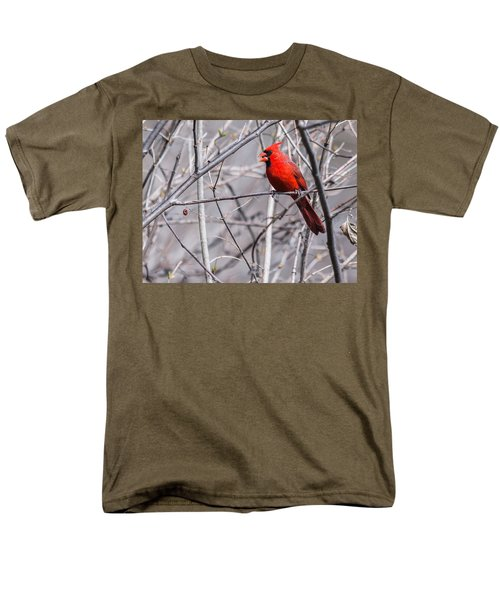 Men's T-Shirt  (Regular Fit) featuring the photograph Northern Cardinal Feeding by Edward Peterson
