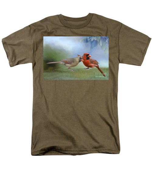 Men's T-Shirt  (Regular Fit) featuring the photograph Northern Cardinals On A Spring Day by Bonnie Barry