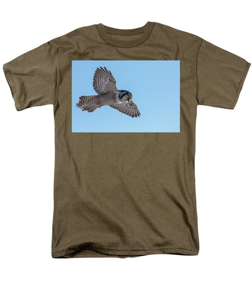 Men's T-Shirt  (Regular Fit) featuring the photograph Northern Hawk Owl Hunting by Mircea Costina Photography