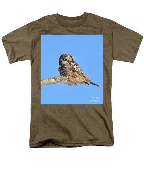 Northern Hawk-owl On Limb Men's T-Shirt  (Regular Fit) by Debbie Stahre