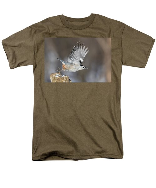 Men's T-Shirt  (Regular Fit) featuring the photograph Nuthatch In Action by Mircea Costina Photography
