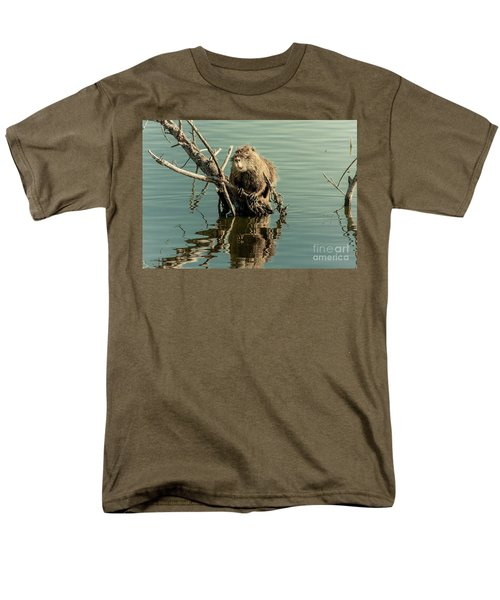 Men's T-Shirt  (Regular Fit) featuring the photograph Nutria On Stick-up by Robert Frederick