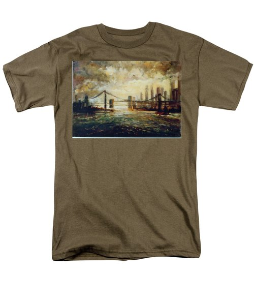 Men's T-Shirt  (Regular Fit) featuring the painting Nyc Harbor by Walter Casaravilla