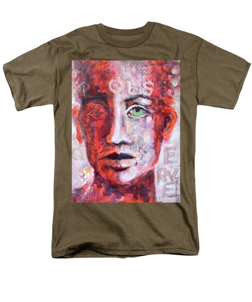 Men's T-Shirt  (Regular Fit) featuring the painting Observe by Mary Schiros