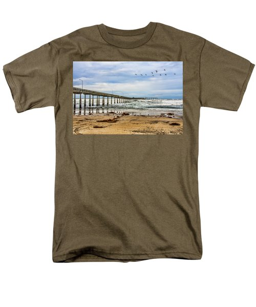 Ocean Beach Pier Fishing Airforce Men's T-Shirt  (Regular Fit) by Daniel Hebard