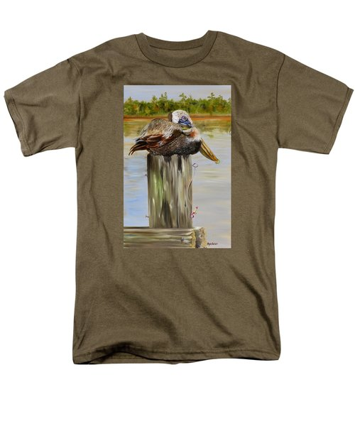 Men's T-Shirt  (Regular Fit) featuring the painting Ocean Springs Pelican by Phyllis Beiser