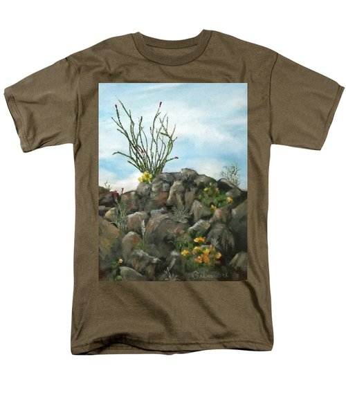 Men's T-Shirt  (Regular Fit) featuring the painting Ocotillo In Bloom by Roseann Gilmore