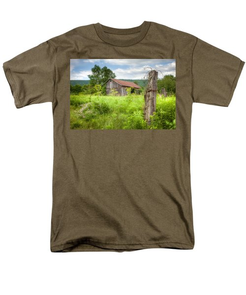 Men's T-Shirt  (Regular Fit) featuring the photograph Old Barn Near Stryker Rd. Rustic Landscape by Gary Heller