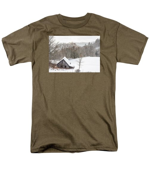 Old Barn On A Winter Day Wide View Men's T-Shirt  (Regular Fit) by Tim Kirchoff