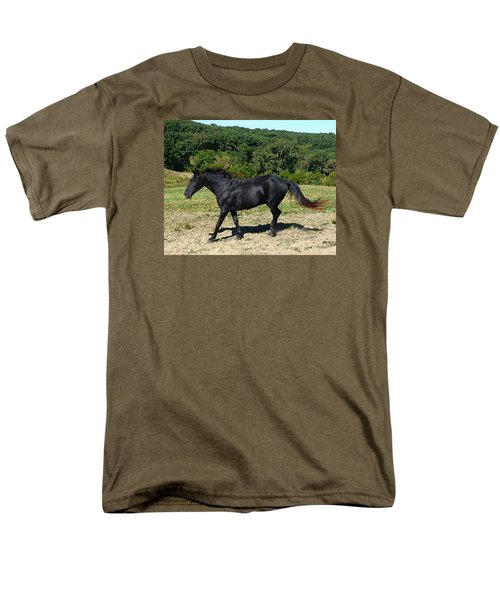 Men's T-Shirt  (Regular Fit) featuring the digital art Old Black Horse Running by Jana Russon