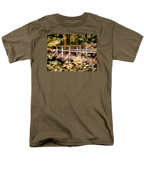 Old Bridge In The Woods In Color Men's T-Shirt  (Regular Fit) by Rena Trepanier