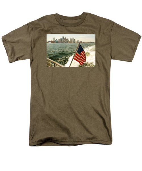 Men's T-Shirt  (Regular Fit) featuring the photograph Old Glory On Boston Harbor by James Kirkikis