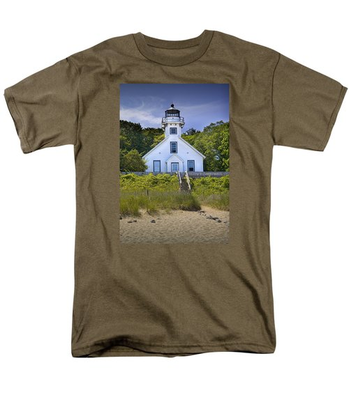 Old Mission Point Lighthouse In Grand Traverse Bay Michigan Number 2 Men's T-Shirt  (Regular Fit) by Randall Nyhof