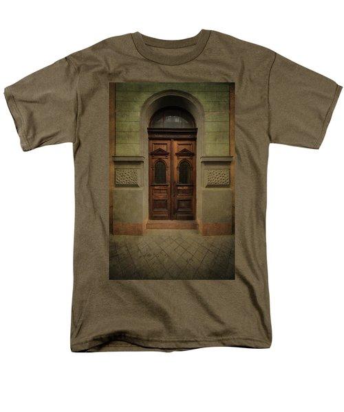 Old Ornamented Wooden Gate In Brown Tones Men's T-Shirt  (Regular Fit) by Jaroslaw Blaminsky