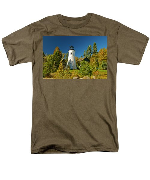 Old Presque Isle Lighthouse_9488 Men's T-Shirt  (Regular Fit) by Michael Peychich
