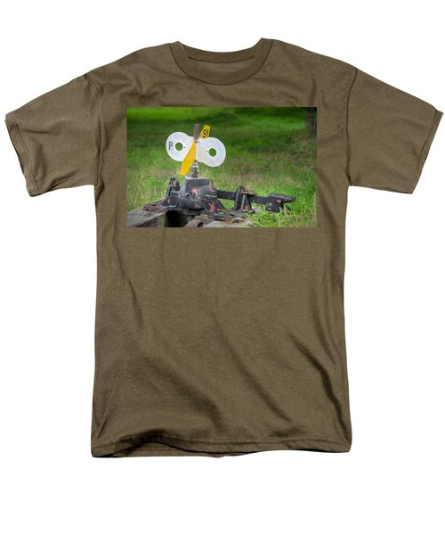 Men's T-Shirt  (Regular Fit) featuring the photograph Old Railroad Switch In The Grass by Gary Slawsky