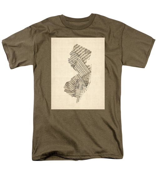Old Sheet Music Map Of New Jersey Men's T-Shirt  (Regular Fit) by Michael Tompsett