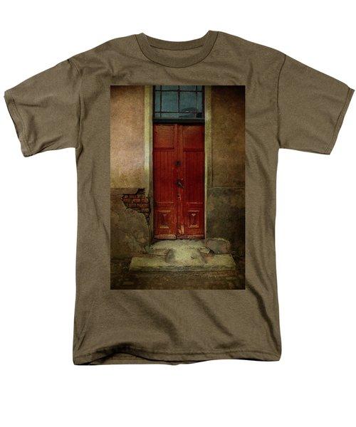 Old Wooden Gate Painted In Red  Men's T-Shirt  (Regular Fit) by Jaroslaw Blaminsky
