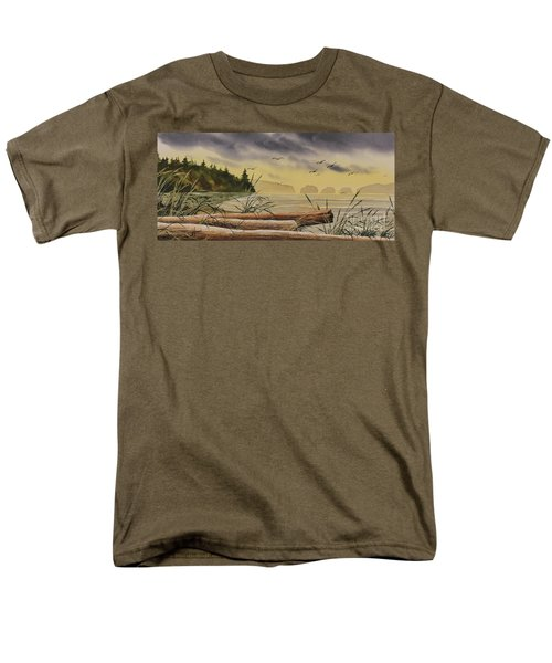 Men's T-Shirt  (Regular Fit) featuring the painting Olympic Seashore Sunset by James Williamson