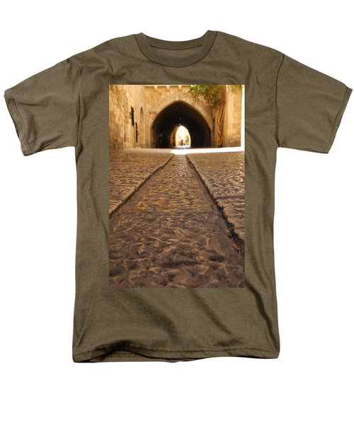 Men's T-Shirt  (Regular Fit) featuring the photograph On The Way To The Western Wall - The Kotel - Old City, Jerusalem, Israel by Yoel Koskas