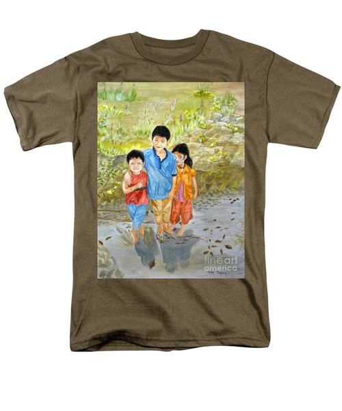 Men's T-Shirt  (Regular Fit) featuring the painting Onion Farm Children Bali Indonesia by Melly Terpening