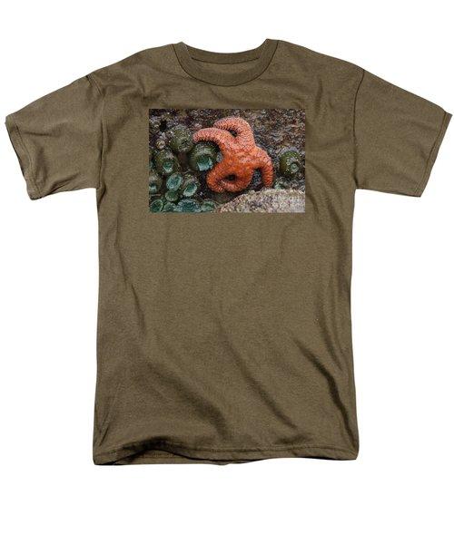 Orange Starfish And Anemonies Men's T-Shirt  (Regular Fit) by Chuck Flewelling
