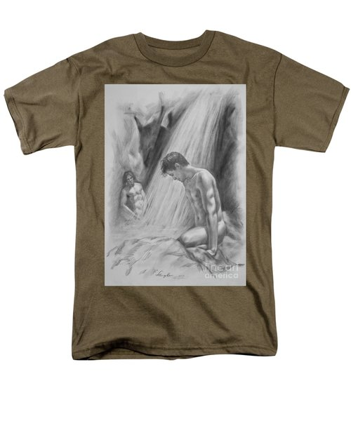 Original Charcoal Drawing Art Male Nude By Twaterfall On Paper #16-3-11-16 Men's T-Shirt  (Regular Fit) by Hongtao Huang