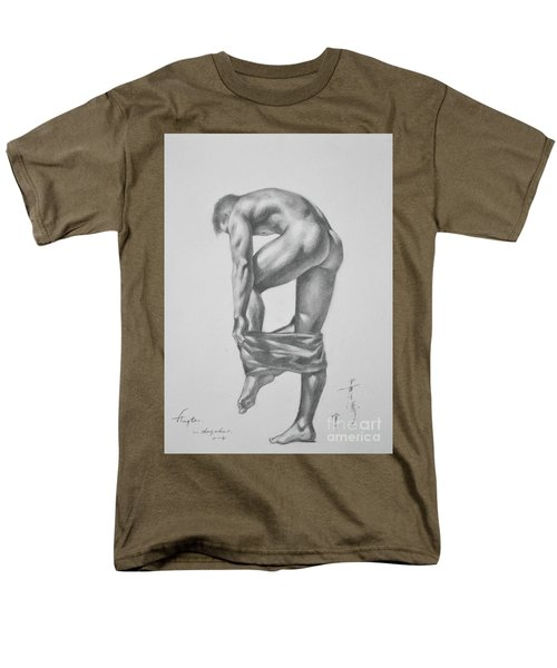 Original Drawing Sketch Charcoal Pencil Gay Interest Man Art  On Paper #11-17-14 Men's T-Shirt  (Regular Fit) by Hongtao     Huang