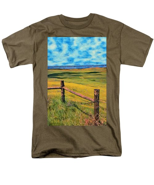 Men's T-Shirt  (Regular Fit) featuring the painting Other Side Of The Fence by Jeff Kolker