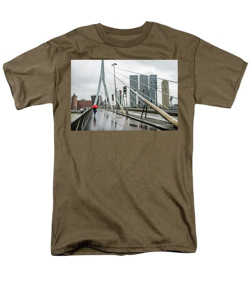 Men's T-Shirt  (Regular Fit) featuring the photograph Over The Erasmus Bridge In Rotterdam With Red Umbrella by RicardMN Photography