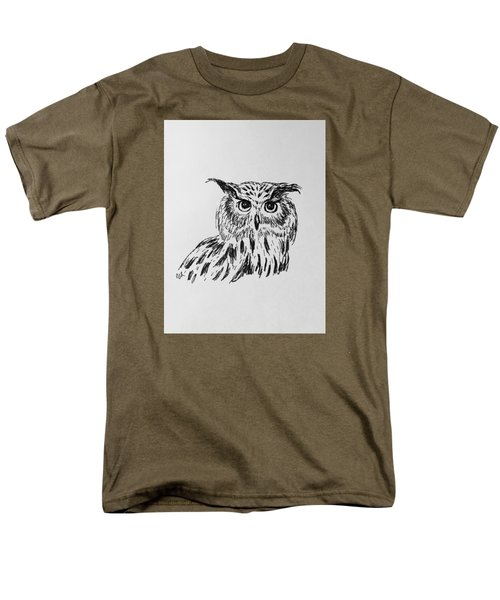 Men's T-Shirt  (Regular Fit) featuring the drawing Owl Study 2 by Victoria Lakes