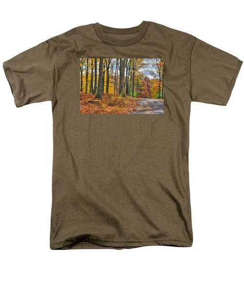 Pa Country Roads - Autumn Colorfest No. 3 - Fire In The Woods - Northumberland County Men's T-Shirt  (Regular Fit) by Michael Mazaika