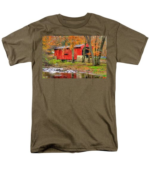 Pa Country Roads- Bartrams / Goshen Covered Bridge Over Crum Creek No.11 Chester / Delaware Counties Men's T-Shirt  (Regular Fit) by Michael Mazaika