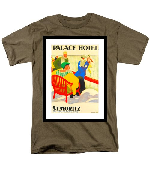 Palace Hotel St Moritz Emil Cardinaux 1920 Men's T-Shirt  (Regular Fit) by Peter Gumaer Ogden Collection