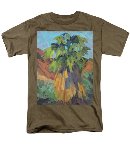 Men's T-Shirt  (Regular Fit) featuring the painting Palm At Santa Rosa Mountains Visitors Center by Diane McClary