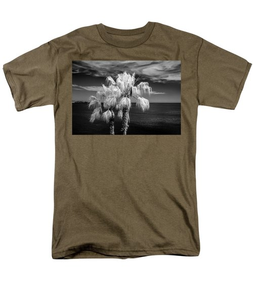 Men's T-Shirt  (Regular Fit) featuring the photograph Palm Trees At Laguna Beach In Infrared Black And White by Randall Nyhof