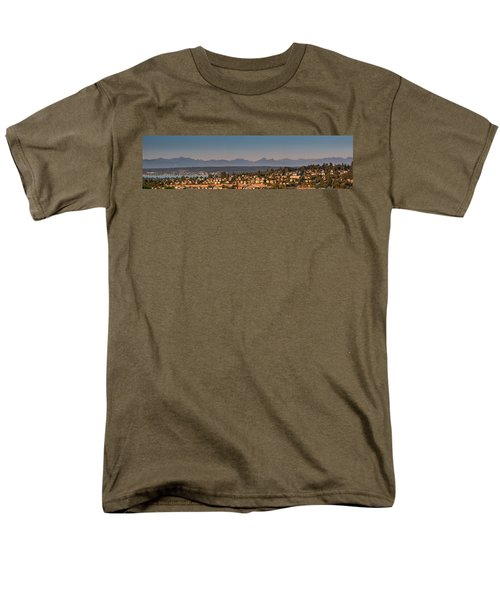 Panorama - Lake Washington - Cascade Mountains Men's T-Shirt  (Regular Fit) by E Faithe Lester