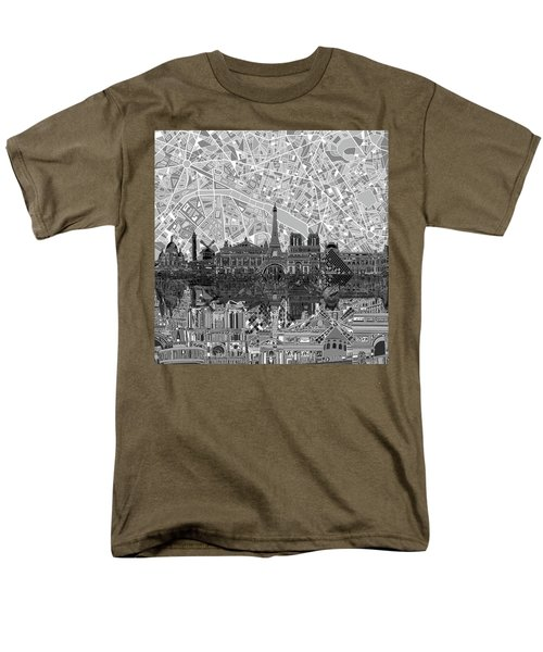 Men's T-Shirt  (Regular Fit) featuring the painting Paris Skyline Black And White by Bekim Art