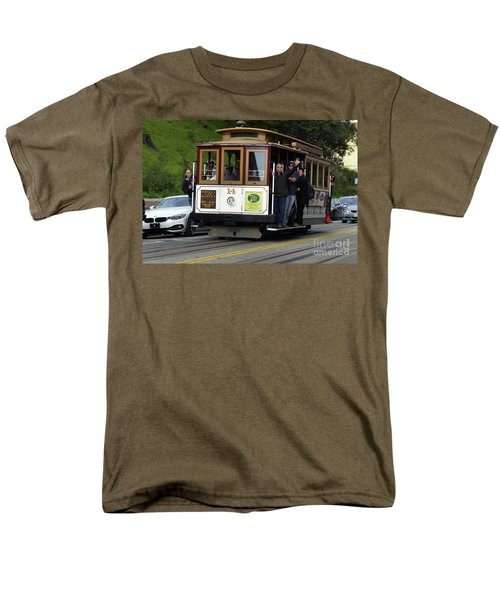 Passenger Waves From A Cable Car Men's T-Shirt  (Regular Fit) by Steven Spak