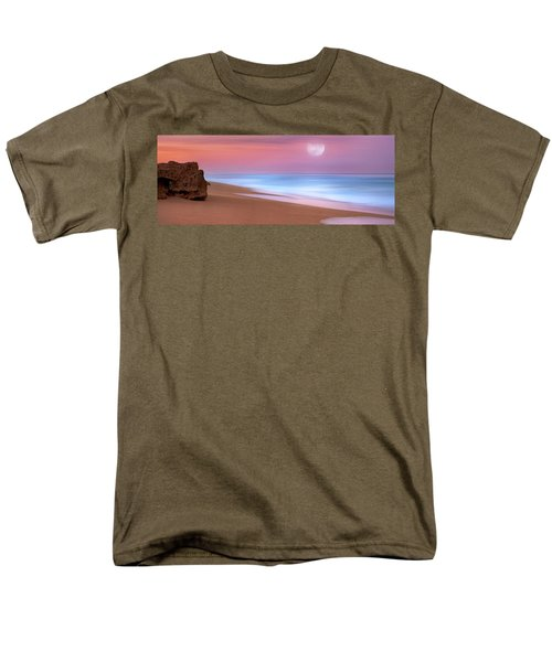 Pastel Sunset And Moonrise Over Hutchinson Island Beach, Florida. Men's T-Shirt  (Regular Fit) by Justin Kelefas