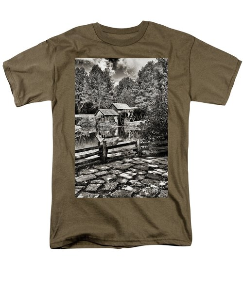 Pathway To Marby Mill In Black And White Men's T-Shirt  (Regular Fit) by Paul Ward