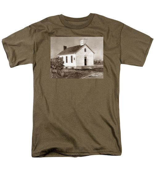 Men's T-Shirt  (Regular Fit) featuring the painting Peach Grove School Sepia by LeAnne Sowa