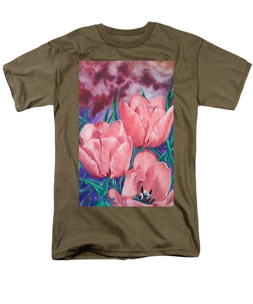 Men's T-Shirt  (Regular Fit) featuring the painting Peach Pink Tulips by Sigrid Tune