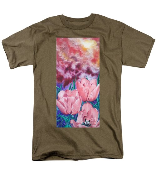 Men's T-Shirt  (Regular Fit) featuring the painting Peachypink Tulips by Sigrid Tune