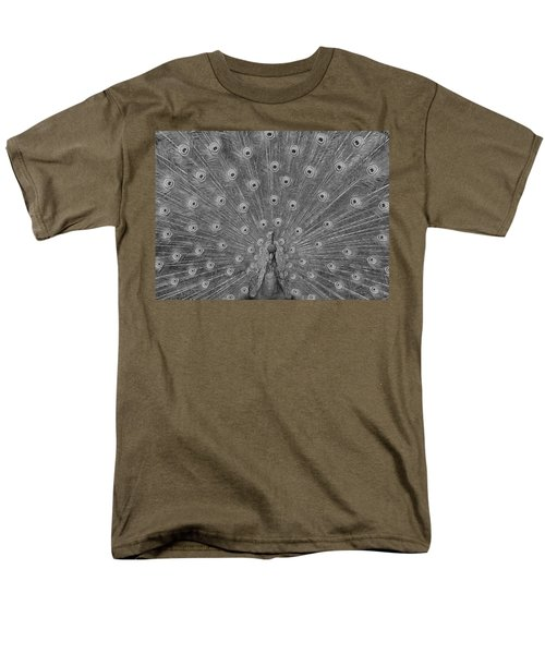 Men's T-Shirt  (Regular Fit) featuring the photograph Peacock Fanfare - Black And White by Diane Alexander