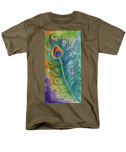 Men's T-Shirt  (Regular Fit) featuring the painting Peacock Feather Mural by Agata Lindquist
