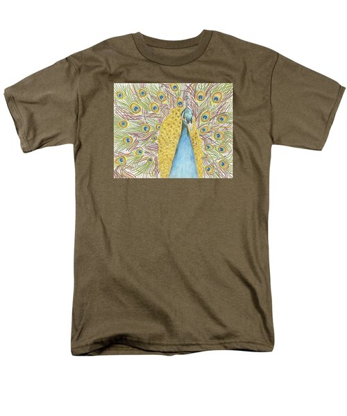 Men's T-Shirt  (Regular Fit) featuring the drawing Peacock One by Arlene Crafton