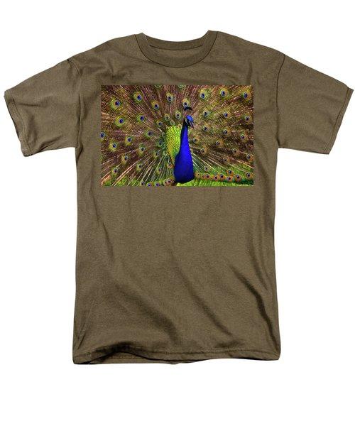 Peacock Showing Breeding Plumage In Jupiter, Florida Men's T-Shirt  (Regular Fit) by Justin Kelefas