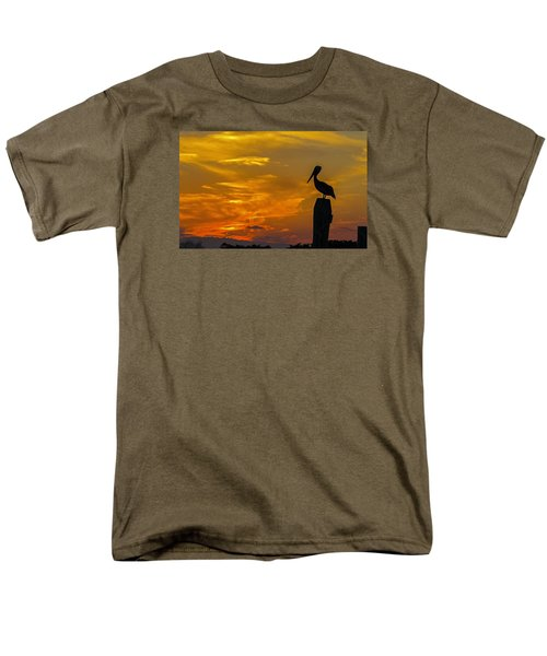 Pelican At Silver Lake Sunset Ocracoke Island Men's T-Shirt  (Regular Fit) by Greg Reed
